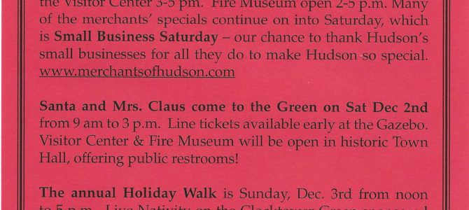 Hudson's Holiday Events