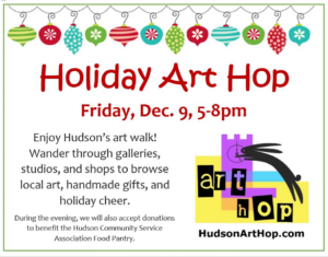 Holiday Art Hop, art walk in Hudson, Ohio, December 9th
