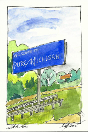 Michigan sketch, watercolor and ink, Karen Koch, Life Needs Art